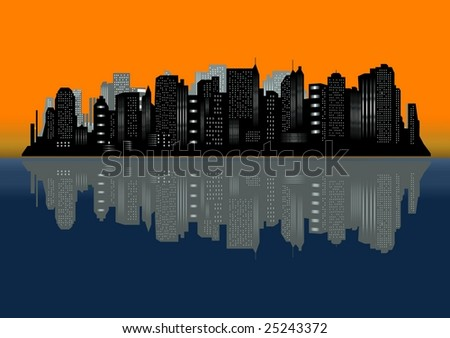New York city at dawn - stock photo