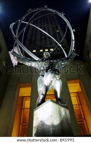New York City at Night, Hercules Statue, Rockefeller Center