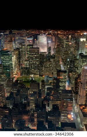New York City at night, looking towards Central Park