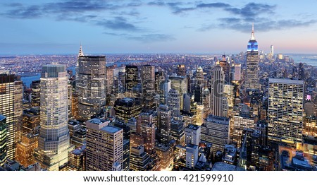 New York city at night, Manhattan, USA - stock photo