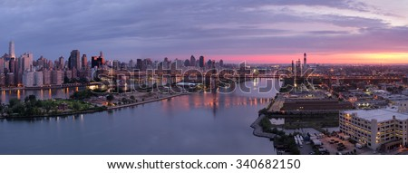 New York City at sunrise, panoramic image - stock photo