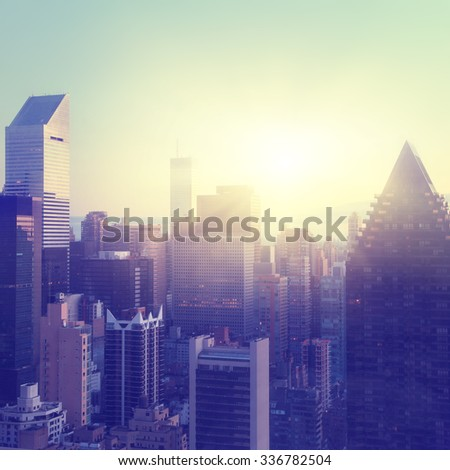 New York City at sunrise. Vintage style image. - stock photo