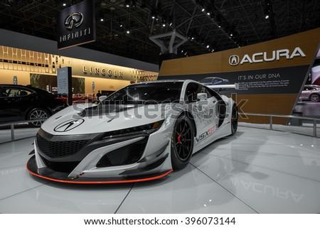 New York City - 3/25/16 - At the New York International Auto Show, Acura displays their NSX race car. - stock photo