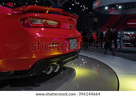New York City - 3/25/16 - At the New York International Auto Show, Chevrolet showcases the all new Camaro ZL1.  Rear view