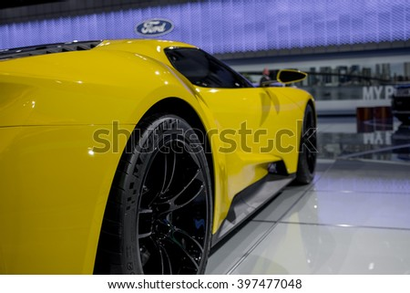 New York City - 3/25/16 - At the New York International Auto Show, Ford displays the updated supercar GT