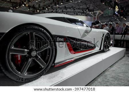 New York City - 3/25/16 - At the New York International Auto Show, Koenigsegg displays the One:1  - stock photo
