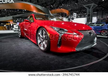 New York City - 3/25/16 - At the New York International Auto Show, Lexus displays the 2017 LC500  - stock photo