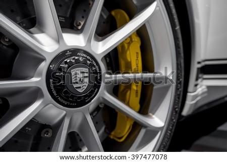New York City - 3/25/16 - At the New York International Auto Show, the lightweight rim of the Porsche 911R - stock photo