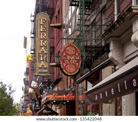 NEW YORK CITY - AUG 5: Little Italy in NYC is known for its Italian shops and restaurants and the popular Annual Feast of San Gennaro in NYC on August 5, 2012 - stock photo