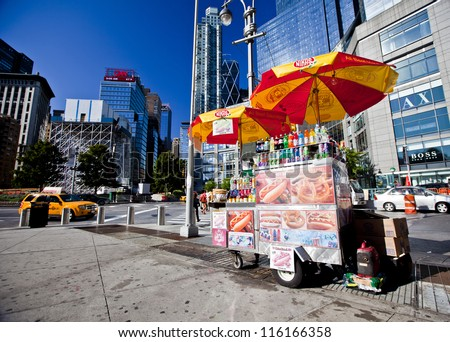 NEW YORK CITY - AUG 30: Midtown, New York state lawmakers are proposing a letter-grading system for street food vendors in New York City, August 30th, 2012 in Manhattan, New York City - stock photo