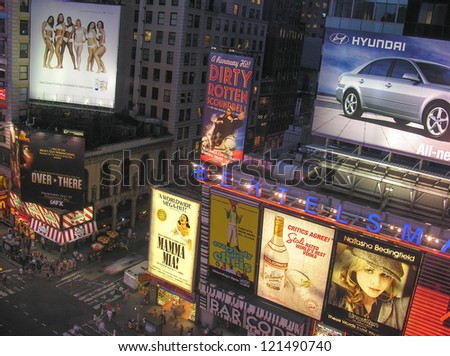 NEW YORK CITY - AUG 8: Nighttime in Times Square features with Broadway Theaters and is a symbol of New York City on August 8, 2006 in Manhattan, New York City - stock photo
