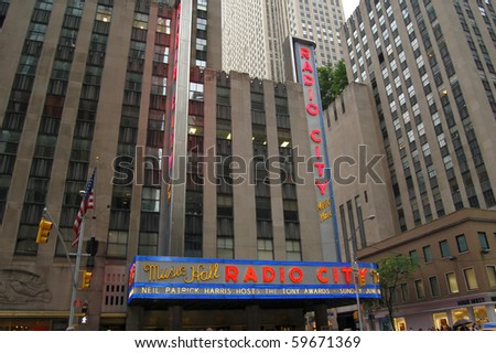 NEW YORK CITY - AUG 1: Radio City Music Hall, located in Rockefeller Center Manhattan, its interior was declared a city landmark in 1978. August 1, 2010 in Manhattan, New York City. - stock photo
