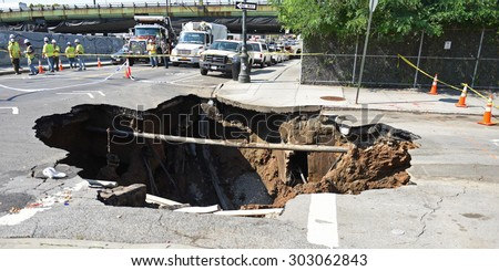 NEW YORK CITY - AUGUST 4 2015: a massive sinkhole erupted in the Sunset Park neighborhood of Brooklyn, closing several streets & bringing FDNY, OEM & DEP, Con Ed & National Grid.