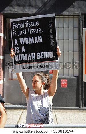 NEW YORK CITY - AUGUST 22 2015: anti-abortion activists squared off against pro-choice demonstrators in front of Planned Parenthood's Margaret Sanger Clinic on Bleecker St. - stock photo