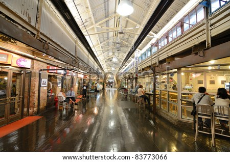 NEW YORK CITY - AUGUST 25: Chelsea Market is Chelsea Market is an enclosed urban food court, shopping mall, office building and television production facility on August 25, 2011 in New York, NY. - stock photo