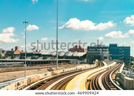 NEW YORK CITY - AUGUST 15, 2016: Image of AirTain structure. AirTrain JFK is a 3-line, 8.1 miles long elevated railway providing service to Kennedy International Airport