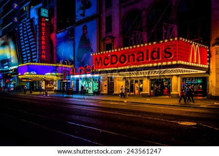 NEW YORK CITY - AUGUST 24, 2014: McDonalds on 42nd Street at night, in Times Square, Midtown Manhattan, New York.