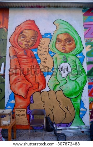 NEW YORK CITY - August 2, 2015: Mural art at East Williamsburg in Brooklyn on August 2, 2015. The Bushwick Collective has most diverse collection of street art in Brooklyn.