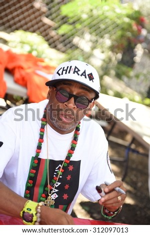 "NEW YORK CITY - AUGUST 29 2105:  Spike Lee & his production company staged a  party on Stuyvesant Ave in Bed-Stuy to celebrate the renaming of the block for his classic film ""Do The Right Thing."""