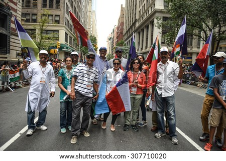 NEW YORK CITY - AUGUST 16 2015: The Federation of India staged its 35th annual India Day Parade along Madison Avenue in Midtown, New York.