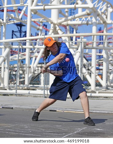 NEW YORK CITY - AUGUST 13 2016: the first Brooklyn Stickball Challenge took place in Coney Island between the Bronx Ravens & East Harlem Stickball Association