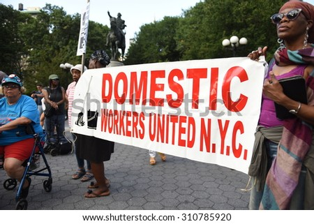 NEW YORK CITY - AUGUST 26 2015: the International Women's Day Coalition staged a rally in Union Square featuring speakers of issues of concern to women as well as activists on behalf of Ayotzinapa.