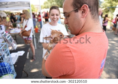 NEW YORK CITY - AUGUST 1 2015: the Mayor's Alliance for NYC Animals sponsored its first ever Adoptapalooza in Prospect Park, Brooklyn