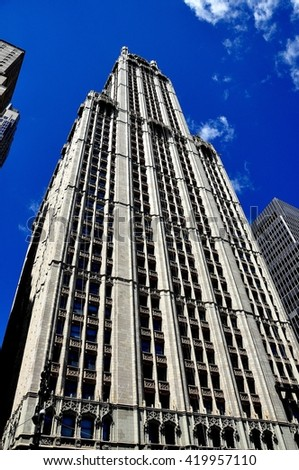 New York City - August 13, 2013:  The neo-gothic Woolworth Building completed in 1913 at 233 Broadway - stock photo