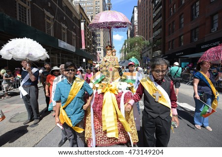 NEW YORK CITY - AUGUST 21 2016: the 46th annual India Day parade filled Madison Avenue with flags & costumes & Bollywood celebrities