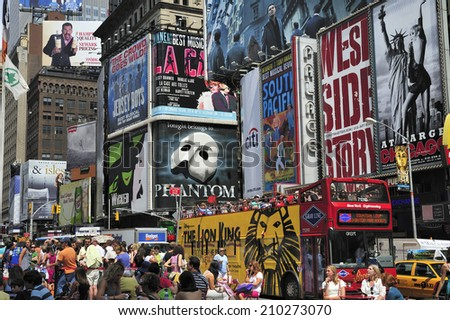 NEW YORK CITY, - August. 6. 2010 : Times Square Traffic with billboard signs in New York City, New York, USA. - stock photo