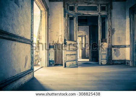 NEW YORK CITY - AUGUST 19, 2015:  View inside abandoned historic Ellis Island Hospital in decay. - stock photo