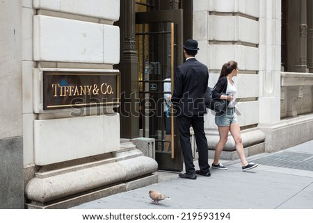 NEW YORK CITY - AUGUST  3, 2014: View of Tiffany & Co. Building on Wall Street in the Financial District in Manhattan. Tiffany's is a luxury American multinational jewelry and silverware corporation. - stock photo