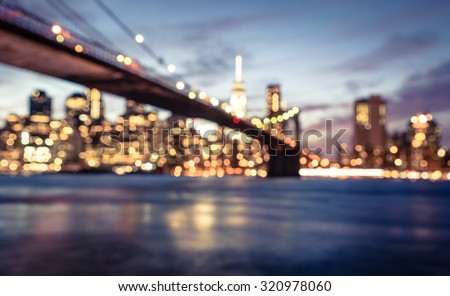 New York city blurred image from the Brooklyn bridge. artistic view of New york - stock photo