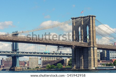 New York City. Brooklyn Bridge and East River. - stock photo