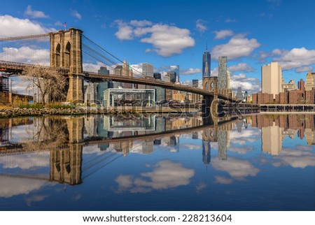 New York City Brooklyn bridge and Manhattan skyline - stock photo