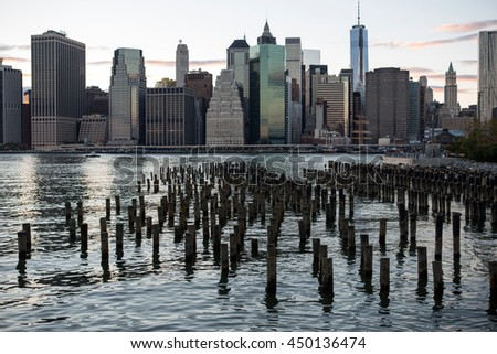 New York City buildings in downtown Manhattan  - stock photo