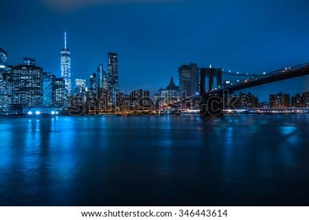 new york city by night - stock photo