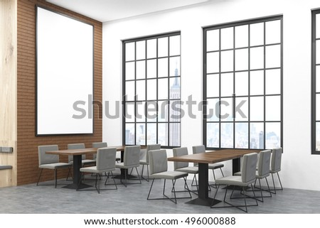 New York City cafe with long rectangular tables and large vertical poster on brick wall. Concept of eating out. 3d rendering