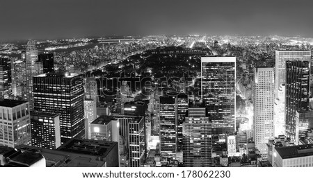 New York City Central Park panorama aerial view black and white at night. - stock photo