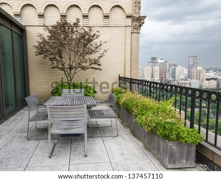 New York City Central Park view from terrace in Manhattan - stock photo