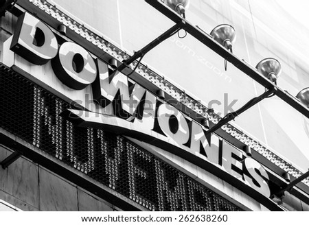 New York City circa dec 2014:  Dow jones logo in famous times square in Manhattan - stock photo