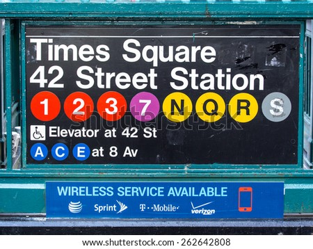 New York City circa dec 2014: Times square subway station signs in Manhattan - stock photo