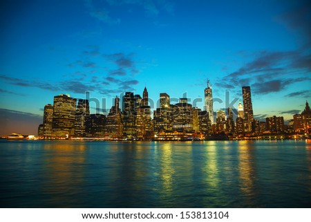 New York City cityscape in the evening at sunset - stock photo