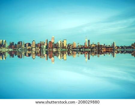 new york city cityscape over hudson river pic - stock photo