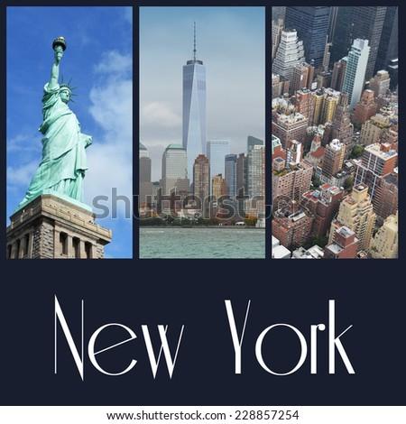 New York  city collage - stock photo