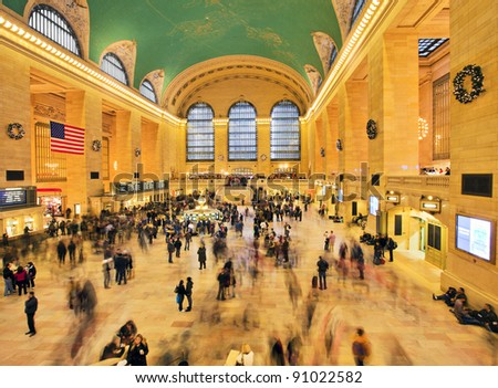 NEW YORK CITY - DEC 17: Famous New York City landmark Grand Central Station full of tourists and shoppers at Christmas, December 17th, 2011 in Manhattan, New York City. - stock photo