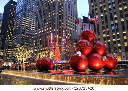NEW YORK CITY - DEC. 5, 2011: New York City landmark, Radio City Music Hall in Rockefeller Center as seen on Dec. 5, 2011 decorated with Christmas decorations in Midtown Manhattan NYC - stock photo