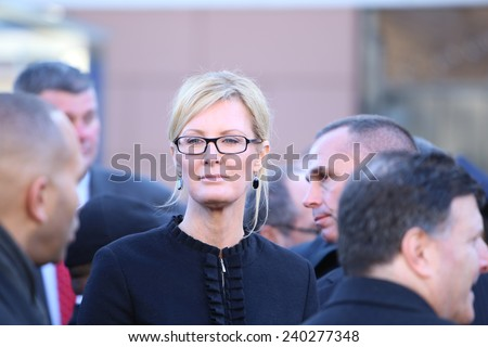 NEW YORK CITY - DECEMBER 27 2014: along with political leaders, uniformed police officers from all over north America attended funeral services for NYPD officer Rafael Ramos. NY first lady, Sandra Lee