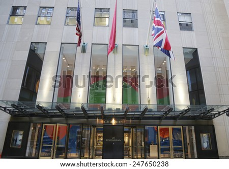 NEW YORK CITY - DECEMBER 18, 2014: Christie's main headquarters at Rockefeller Plaza in New York. Christie's is the world's largest art business and a fine arts auction house - stock photo