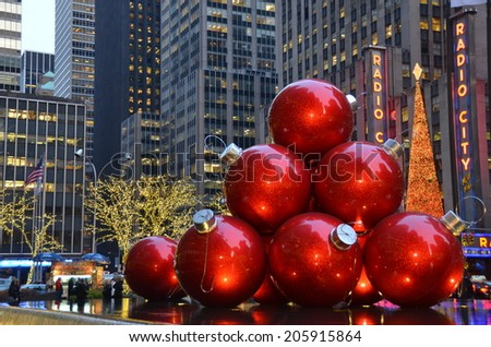 NEW YORK CITY - DECEMBER 17, 2013: Giant Christmas Ornaments in Midtown Manhattan on December 17, 2013, New York City, USA. - stock photo